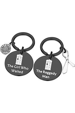 PLITI Dr Who Schlüsselanhänger Set von 2 Police Box Charm Tardis Geschenk Dr. Who Schmuck Valentinstag Geschenk Paar Geschenk The Girl Who Waited