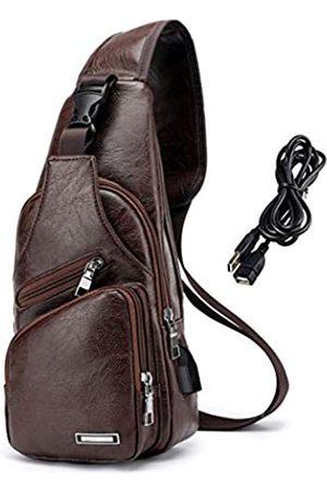 Suyzufly Herren Rucksäcke - Herren Rucksack aus PU-Leder mit USB-Ladeanschluss für Reisen, Wandern