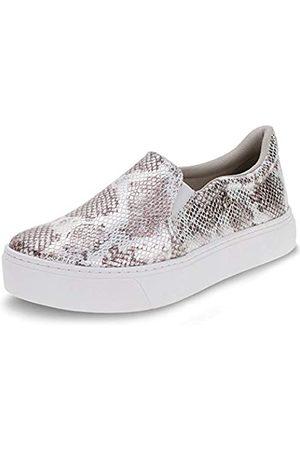 VIA MARTE Damen Sneakers - Damen Slip-on Plateau Sneaker Metallic Phython Print Gepolsterte Innensohle Silber/