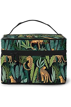 AHOOCUSTOM Kosmetik-Organizer mit Dschungel-Leopardenmuster, professionelle Make-up-Taschen für Frauen, tragbare Beautybox, Reise-Toilettenartikel