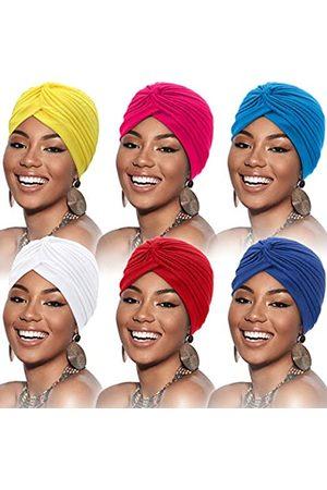 SATINIOR 6 Stücke Turban für Frauen Baumwolle Soft Turban Kopfwickel Kopfbedeckung Plissee Mütze Kappe Haarausfall Hut (Weinrot, , Rosenrot, , Königsblau
