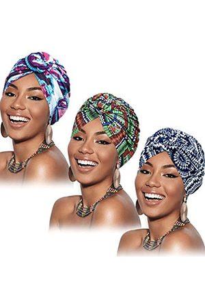 SATINIOR 3 Stücke Afrikanischen Turban für Damen Knoten Pre-Gebunden Motorhaube Hut Kopfbedeckung ( Lila Blume)