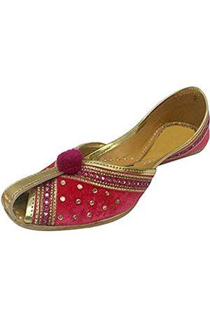 Step N Style Damen Ballerinas - Damen Samt & Leder Khussa Schuhe Punjabi Jutti indische handgefertigte Ballett, Pink (rose)