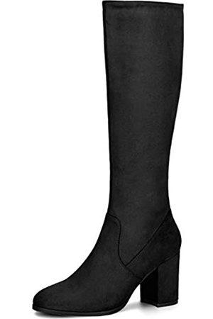 Allegra K Damen Overknees - Damen Round Toe Reißverschluss Blockabsatz Kniehohe Boots Stiefel 41