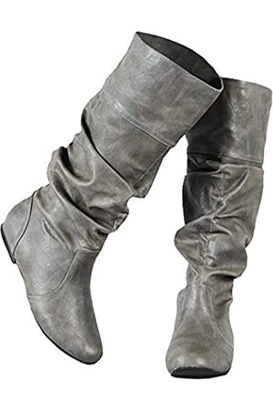 Syktkmx Damen Winterstiefel - Damen Winterstiefel kniehoch Fall breite Wade flache Manschetten Schuhe, (1-hell )