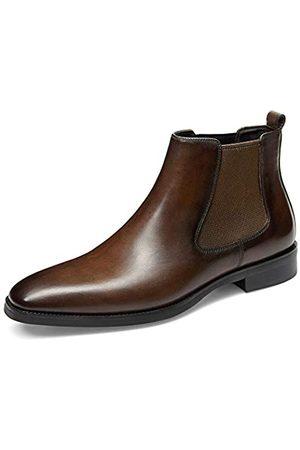 GIFENNSE Herren Chelsea Boots - Chelsea Boots für Herren aus Leder, Braun (Dunkelbraun-1)
