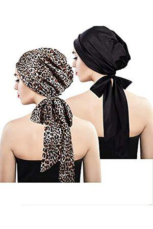Blulu 2 Stücke Weich Satin Kopftuch Schlafen Mütze Bonnet Kopfbedeckung Kopf Abdeckung Turbane für Damen (Set 6)
