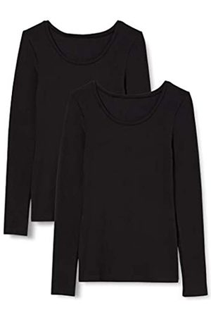 IRIS & LILLY Damen Extrawarmes Thermo-Unterhemd mit Langen Ärmeln, 2er-Pack (Black), S