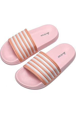 Barerun Damen Fuzzy Faux Pelz Flach Spa Slide Hausschuhe Open Toe Haus Indoor Schuhe Sandalen, ( gestreift)