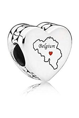 PANDORA Belgium map silver charm with red enamel