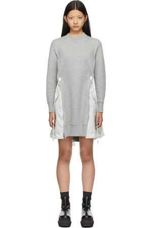 SACAI Grey & Off-White Sponge Sweat X MA-1 Dress