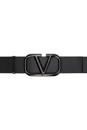 VALENTINO GARAVANI Black Large VLogo Belt