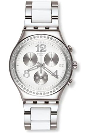 Swatch Damen Uhren - Damen-Armbanduhr Touch Secret Thought White Chronograph Quarz Verschiedene Materialien YCS552G