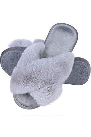 shevalues Damen Halbschuhe - Fuzzy Cross Band House Slippers Damen Kunstfell Offene Zehen Indoor Home Schuhe