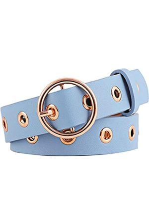Sourcingmap Damen verziert Grommet Löcher Single Gürtelschnalle Ledergürtel 28mm Breite 1 1/8 Himmelblau