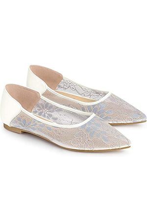 Allegra K Damen Ballerinas - Damen-Schlupfschuhe mit floralem Netzstoff, spitzer Zehenbereich, gehäkelt, flach, ( / )