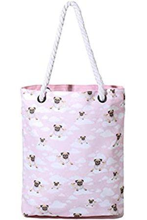 PattyCandy Strandtaschen für Frauen, lustiger Tier- und Tierdruck auf Seilgriff, Tragetasche, Pink ( Mops)