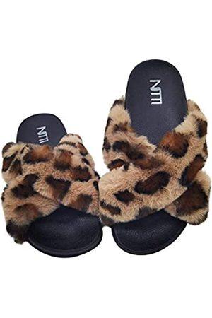NITTI Damen Outdoorschuhe - Damen Flauschige Pelz Slides   Offene Zehe Niedliche Kunstpelz Hausschuhe   Outdoor Indoor Bequeme Flache Sandalen, (leopard)