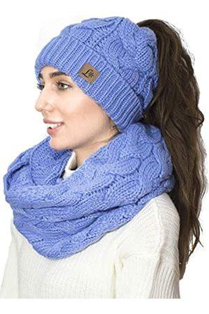 Lelaffet Damen Wintermütze Schal Strickmütze Schal Set Pferdeschwanzmütze für Damen mit Schal und Strickmütze - - Medium