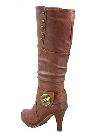 Generic FZ-Win-45 Damen Mode Runde Zehen High Heel Plateau Reißverschluss Kniehohe Stiefel, (hautfarben)