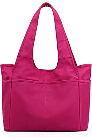 Lavogel Damen Handtaschen - Multi-Pocket Tote Schultertasche Multifunktionale Nylon Schulter Handtasche Reise Geldbörse Taschen für Frauen, Pink (01-rose)