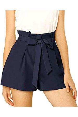 Allegra K Damen A Linie High Waist Bindegürtel Paperbag Kurze Hose Shorts XL
