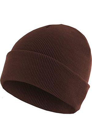 MSTRDS Unisex Strickmütze Basic Flap Beanie - einfarbige, neutrale Wintermütze für Damen und Herren ohne Druck und Stick, ohne Logo - Farbe chocolate