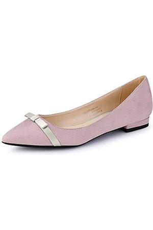 Allegra K Damen Sneakers - Damen Spitzer Zehen-Slip-On Ballettschuhe Flache Schuhe, Pink (rose)
