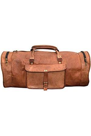 LLB Leather Arts Vintage 22 '' Runde Reisetasche Cum Gym Bag 011