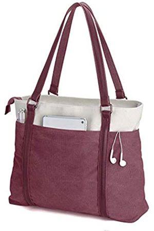 BAG WIZARD Damen Laptop-Tragetasche für die Arbeit, leicht, aus Segeltuch, 39,6 cm (15,6 Zoll), Rot (burgunderfarben)