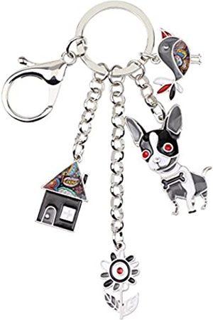 BONSNY Emaille Legierung Kette Chihuahua Hund Schlüsselanhänger für Frauen Auto Geldbörse Handtasche Charms Geschenk
