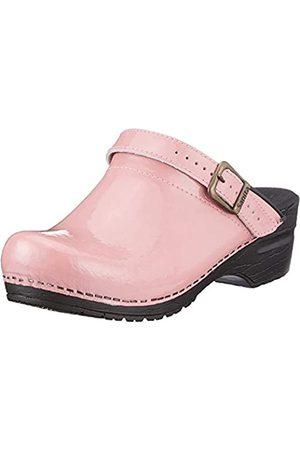 Sanita Damen Clogs & Pantoletten - | Freya offener Clog | Original handgemacht | Flexible Leder-Clogs für Damen | Pink | 39 EU