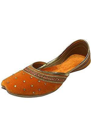 Step N Style Damen Halbschuhe - Flache Samt-Khussa-Schuhe für Damen, Punjabi, Jutti, Rajasthani, Mojari, Loafer-Pumps