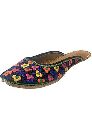 Step N Style Damen Flip Flops - Damen Leder Flache Ballett Flip Flop Schuhe Rücken Offen Punjabi Jutti Joti