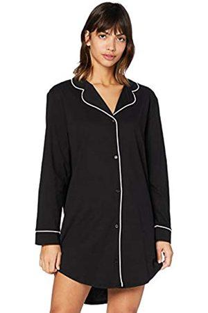 IRIS & LILLY Damen Langärmeliges Nachthemd aus Baumwolle (Black), M