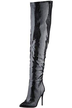Steve Madden Damen WHARLOW BLACK CROCO Overknee-Stiefel