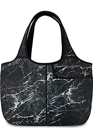 Nordic By Nature Damen Handtaschen - Damen Weiche Tote Schultertasche Neopren Handtasche Laptop Computer Reisetasche Geldbörse, Schwarz (schwarzer Marmor)