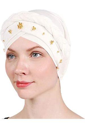 BABAHU 1 Packung / 2 Packungen / 4 Packungen Frauen Turban gedrehte Perlen Flechten Chemische Krebs Kopftuch Kappe Haar bedeckt Wrap Hut - Wei� - Einheitsgröße