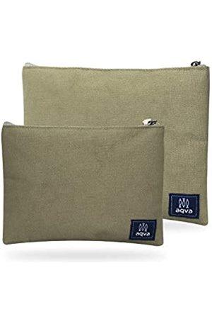 AQVA Damen Koffer - Set mit 2 umweltfreundlichen Baumwoll-Leinen-Beuteln, Schreibwaren-Beutel, Münzgeldbeutel, Kosmetik-Kit, Make-up-Tasche, Kulturbeutel