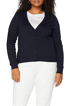 MERAKI Amazon-Marke: Baumwoll-Strickjacke Damen mit V-Ausschnitt, Blau (Navy), 42