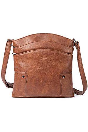 CLUCI Crossbody-Taschen für Frauen, kleine Leder-Geldbörse, Reise-Damen-Designer-Dreifach-Taschen, Vintage-Handtaschen, Schultertaschen, Braun (dunkelbraun)