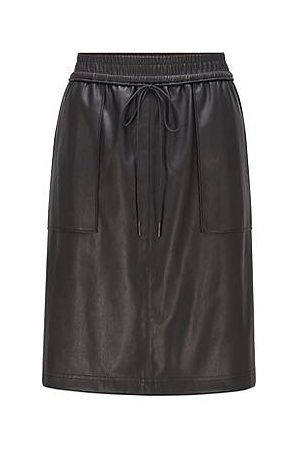 HUGO BOSS Damen Lederröcke - Faux-leather skirt with drawstring waist and patch pockets