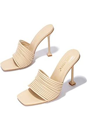 Cape Robbin Damen Sandalen - Mexmon Sexy High Heels für Damen, Riemchenschuhe mit quadratischem offenen Zehenbereich, Braun (nude)