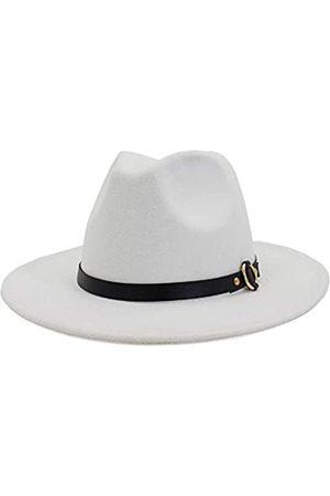 HUDANHUWEI Damen Klassische breite Krempe Fedora Hut mit Gürtelschnalle Filz Panama Hut - Weiß - Medium