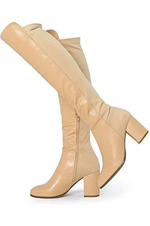 Allegra K Damen Overknees - Damen-Stiefel, runder Zehenbereich, kniehoch, klobiger Absatz, Beige (khaki)