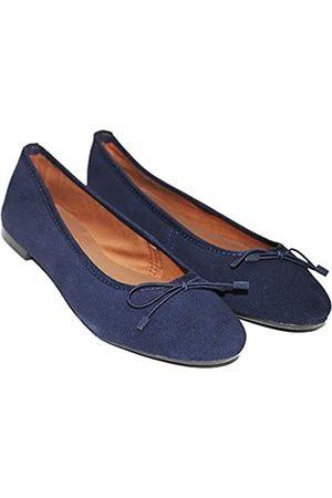 TWISTER Damen Halbschuhe - Damen Pumps aus 100% Echtleder Ballerinas Flach Stilvolle & Bequeme Loafer Flache Schuhe, Blau (marineblau)