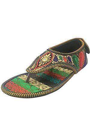 Step N Style Damen Perlen Sandalen Ethnische Sandalen Traditionelle Multi Sandalen Indische Juttis, (mehrfarbig)