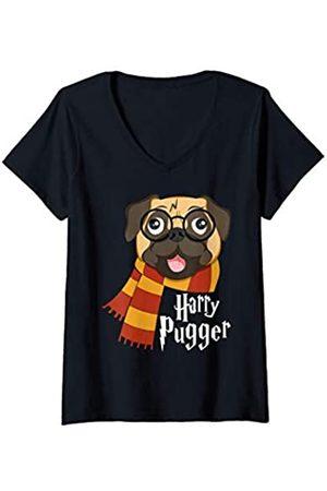 YO MINUS Damen Harry Pugger Funny Pug Owner Wizard Lover T-Shirt mit V-Ausschnitt