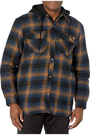 Dickies Herren Relaxed Fleece Hooded Flannel Shirt Jacket Arbeitsoberbekleidung, Ink Navy/Brown Duck Ombre Plaid