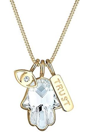 Elli Halskette Hamsa Evil Eye Kristalle 925 Silber